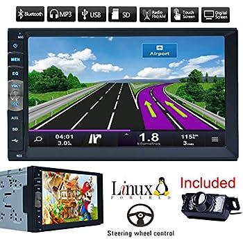 Coche Bluetooth GPS Navigation MP5 2 DIN 7 pulgadas de pantalla táctil auto radio receptor estéreo del vehículo Multimedia PC Sistema No-DVD con la cámara ...