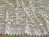 Zierrand Couture Brautschmuck schwere Guipure-Spitze Stoff Meterware Creme–Elfenbeinfarben