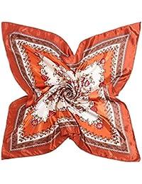 19fd26b7542a Hungrybubble Foulard en Soie imprimé écharpe en Soie Grande écharpe carrée  pour Femmes (Color