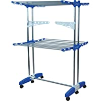 Mega stand Portable 2 Tier Stainless Steel and Plastic Cloth Drying Stand with Double Pole, (Blue)