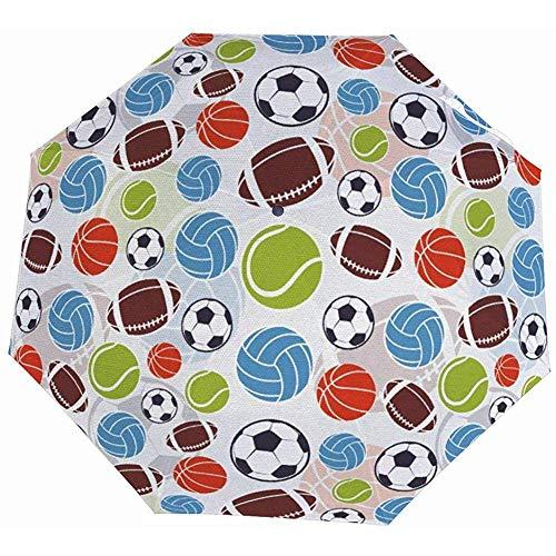 EW-OL-Automatic tri-fold umbrella Sportbälle Muster Bunt Basketball Fußball Volleyball Tennis Bedruckter Reiseschirm - Summer Sun & Rain Leichter Mini-Taschenschirm