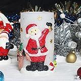 RMAN Weihnachtskerze Deko Licht Weihnachtsmann formte LED Paraffin Flammenlose Kabellos Kerze Deko Licht Lampe Batteriebetrieb (Höhe: 14,5cm)