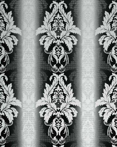 3D Barock-Tapete Damask EDEM 770-30 Luxus Tapete hochwertige 3D Brokat Struktur schwarz weiß...