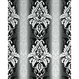 Papel pintado barroco Damasco gofrado EDEM 770-30 de alta calidad estampado blanco negro antracita plata