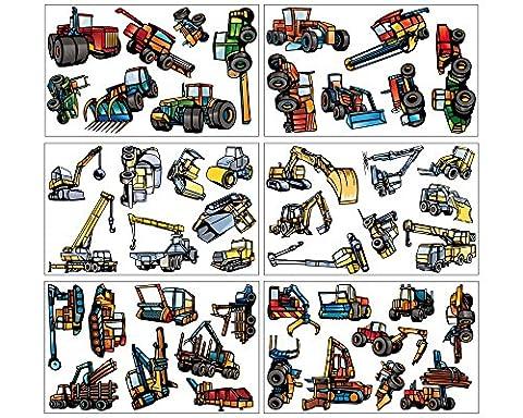 46-teiliges Bagger Trecker Traktor Baumaschinen Set Wandtattoo Kran LKW Wandsticker in 3 Größen (6x16x26cm