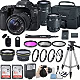 Canon EOS 80D DSLR Camera With EF-S 18-55mm F/3.5-5.6 IS STM Lens + EF-S 55-250mm F/4-5.6 IS STM Lens + 58mm HD Wide Angle Lens + 2.2x Telephoto + 64GB + Filter & Macro Kit + More Accessories