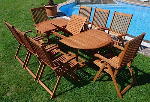 Edle Gartengarnitur Terassengarnitur Gartenset Gartenmöbel Holz Eukalyptus mit Ausziehtisch 140-180x100cm + 8 Hochlehner 7-fach verstellbar 'LIMA180-6EU-SET' von AS-S