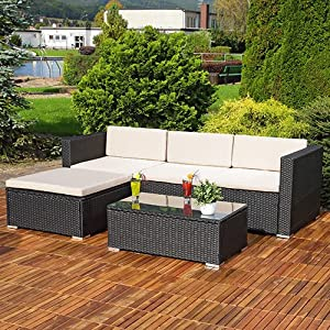 61XlICufWtL. SS300  - Frankfurt & Co Rattan Garden Furniture Set seater outdoor wicker 3 pcs corner set