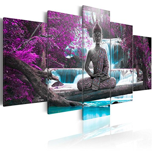 Canvas painting 200x100 cm - 3 three colors to choose - 5 Parts - Large Format - Photographic quality print - Canvas on woven-non-woven canvas - Buddha landscape Nature waterfall �fruit je pink orange cA-0021-bo 200x100 cm B & D XXL