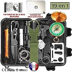 BioHealth-Paris Survival - Kit de supervivencia de emergencia multiherramientas, 19 en 1, para profesional y amateur,equipo de ataque y defensa para acampada, senderismo, exteriores, viajes, caza, orientación y más, certificado CE, FDA, etc.