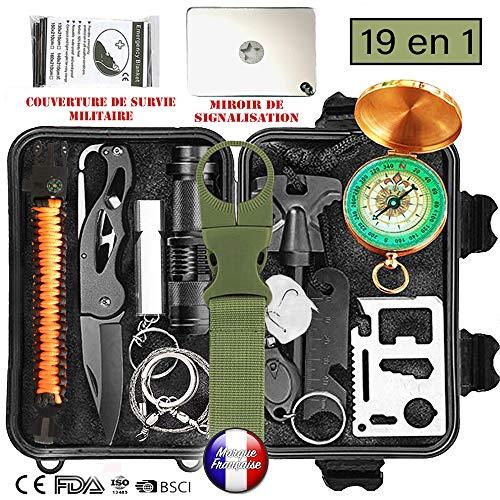 Kit de survie d'urgence Multi-outils 19en1 Avec Trousse de Premiers Secours,Couteau de Survie,Lampe...