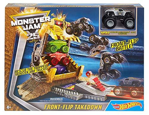 Hot Wheels - Monster Jam Juguetes Autos Juego de Camiones para Niños Playset 25 Aniversario Front-Flip Takedown Incluye Camión Maximum Destruction Pista Niño