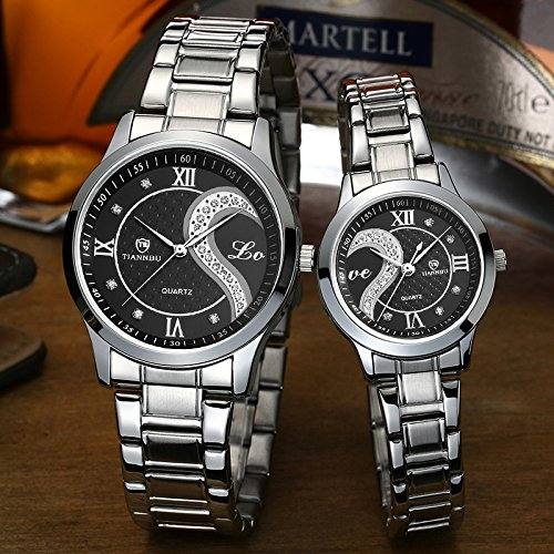 Fq-102 Stainless Steel Romantic Pair His & Hers Wrist Watches For Men Women Set Of 2 (Black)