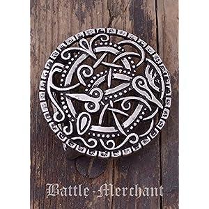 Battle-Merchant Gürtelschnalle nach Vorbild der Wikinger Pitney-Brosche für Gürtel bis 3 cm Breite Silber oder Bronze LARP Mittelalter Wikinger