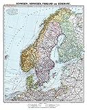 Historische Karte: SCHWEDEN, NORWEGEN, FINNLAND und DÄNEMARK - um 1910 [gerollt]: Carl Flemmings Generalkarte, No. 30 - Friedrich Handtke