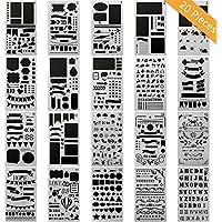 20pcs Bullet Journal Pochoir Plastique Ensemble de planning pour journal/portable/agenda/scrapbook/Art projets d'artisanat DIY Modèle de dessin 10,2x 17,8cm