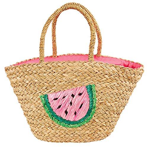 Mud Pie 8613355p Woven Seegras Beach Tasche, Wassermelone -