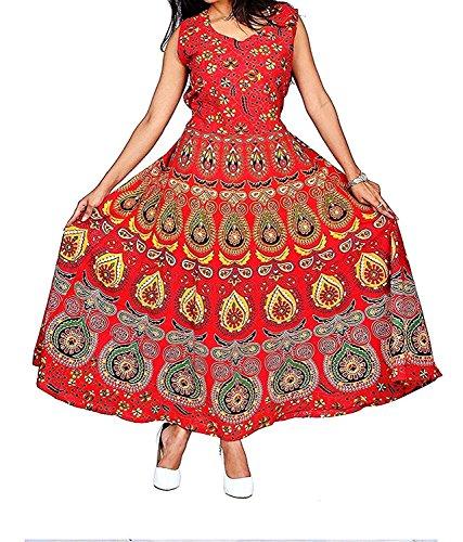 Narsinh presents designer Cotton Women\'s Maxi Long Dress jaipuri printed (free size UPTO 44-XXL) Ned037