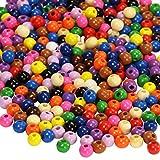 trendmarkt24 Holz-Perlen Bunt Sortiert, 50g (ca. 310 Stück) ✓ Kinderperlen ca. 8mm groß ✓ Fädelperlen mit Loch ca. 2mm ✓ Holzkugeln Gemischt ✓ Bastelperlen auffädeln ✓ Schmuck-Perlen 30160899