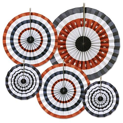 otische Akkordeon Papier Fans (5Pack), Größen sortiert, rot/weiß/blau ()