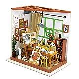 ROBOTIME DIY Haus Bausatz Basteln Miniatur Puppenhaus Dekoration Kreative Geschenkidee mit LED Licht (Atelier)