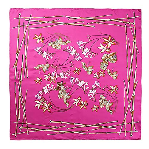 Baobei 34 '' Seidenschal Damenmode Muster Große Quadratische Satin Kopftuch Kopfschmuck (Farbe : E)