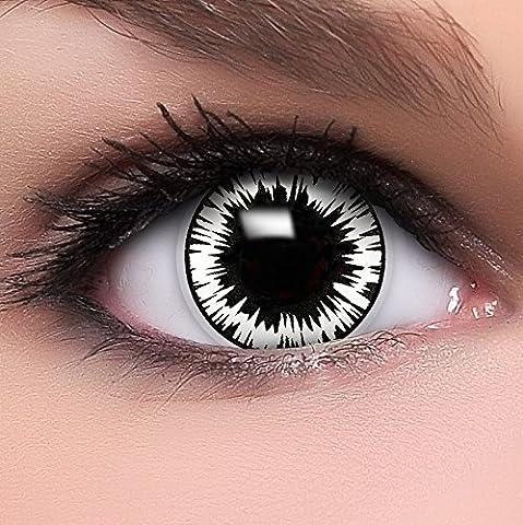 Farbige Kontaktlinsen 'Wormhole' in schwarz & rot & weiß, weich ohne Stärke, 2er Pack inkl. Behälter und 10ml Kombilösung - Top-Markenqualität, angenehm zu tragen und perfekt zu Halloween oder (Cat Kostüme Amazon)