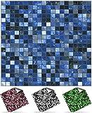 Tile Style Decals, Modell 30xTP3-6'-Midnight Blue, Mosaik Wandfliese Aufkleber für 15x15cm Fliesen,...