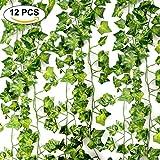 Yanoza Efeu Künstlich Hängende Rebe, 84 Ft-12 Stück Künstliche Ivy Pflanze Garland Pflanzen Rebe Hängen Laub Grün Blätter Blumen für Hausgarten Büro Hochzeit Hof Wand Festival Dekorationen