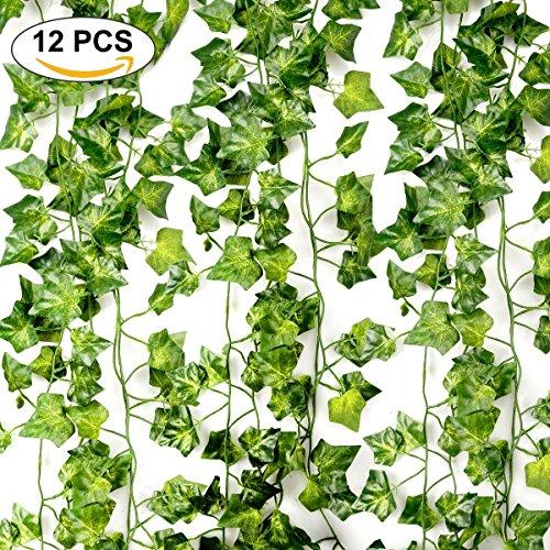Foglia di edera artificiale, 84 ft-12 pack piante di ghirlanda di edera artificiale piante rampicanti fogliame verde foglie di fiori per la casa giardino ufficio matrimonio decorazioni da parete