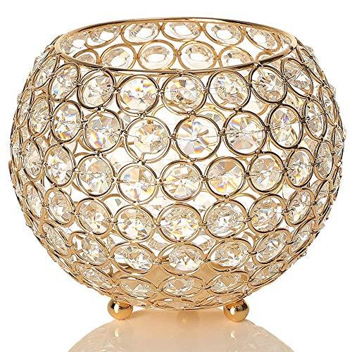 VINCIGANT Gold Schüssel Kristall Kerzenhalter Hochzeitskerze für Kerzen Wohnzimmer Dekoration Urlaub Feier Hochzeit Geschenk,Durchmesser 15cm Kristall-kerze