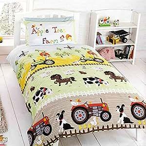 parure housse de couette lit 1 personne chambre enfant tracteur ferme animaux. Black Bedroom Furniture Sets. Home Design Ideas