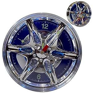 """(101) lED jantes pneumatiques horloge murale avec design """"racing voiture motorsport bleu à lED 27 cm"""