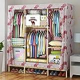 Massivholz Kleiderschrank Oxford Tuch große Aufbewahrungsschränke Kleiderschrank Kinder 20cm Holzstock große Kapazität, 68 * 58