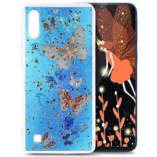 Schutzhülle für Samsung Galaxy M10 / A10 (Glitzer, TPU, Silikon-Gel, transparent) Blumen-Design Blue Butterfy -
