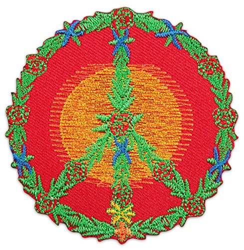 Psy Peace Aufnäher Aufbügler Patch Blumen Buddhismus Hinduismus Goa Yoga Trance Party Festival (Klein)