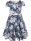 BONNY BILLY Mädchen Klasse Jahrgang Blumen Swing Kinder Party Kleid mit Gürtel 110 C-Lila Blume