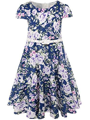 Klasse Jahrgang Blumen Swing Kinder Party Kleid mit Gürtel 100 C-Lila Blume (Promi-halloween-party 2017)