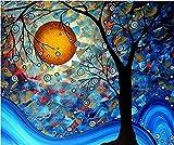 Night scene 5D Diamond Painting by Numbers Full drill kit ricamo a punto croce Craft DIY Art Home Wall Decor–Moon Tree (40cm x30cm)