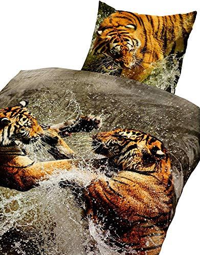4Tlg Bettwäsche Baumwolle Tiger 3D Fotorealistische Druck 135x200