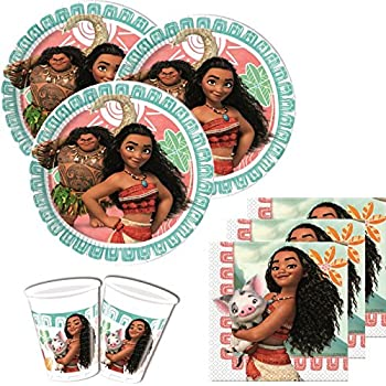 Disney Bpwfa-315 Moana Lot Comprend 16 Tasses/16 assiettes/16 serviettes en papier/1 Housse de table