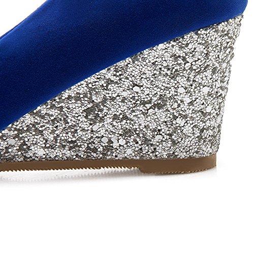 AllhqFashion Femme à Talon Correct Couleur Unie Tire Rond Chaussures Légeres Bleu