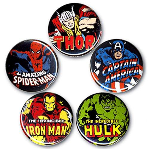 Marvel Comics - Heroes - Avengers - Captain America - Iron Man - Spiderman - Hulk - Thor Set of buttons - Set of 5 badges - original licensed product - LOGOSHIRT