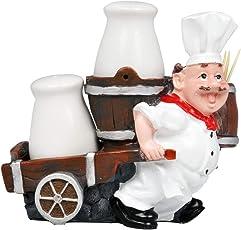 EZ Life Chef Resin Holder Cart - Salt Pepper Shakers & Toothpick Holder - Condiment Set for Dinner Table - Dining Décor