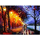 DIY Oil Painting, Paint by Number Kit for Home Wall Decoration Art Gift Romantic Street Light 16*20 Inch