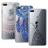 Yokata 3 Packs Huawei Honor 9 Lite Hülle Transparent Handytasche TPU Silicone Bumper Ultra Dünn Slim Durchsichtig Premium Kratzfest Motiv Handyhülle - Mandala Windmühle Mädchen und Schmetterling