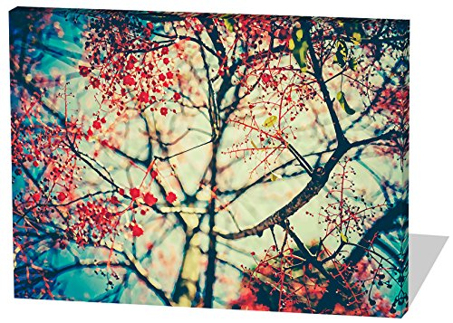 Baum, Gemälde Effekt, schönes und hochwertiges Leinwandbild zum Aufhängen in XXL - 100cm x 70cm, echter Holzrahmen, effektiver Pigmentdruck, modernes Design für Ihr Büro oder Zimmer
