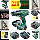 BOSCH 18V CORDLESS COMBI HAMMER DRILL PSB1800 LI2 LATEST MODEL REPLACING OLDER VERSION PSB18 LI2 COMPLETE KIT WITH 2 LI-ION BATTERIES, FAST CHARGER