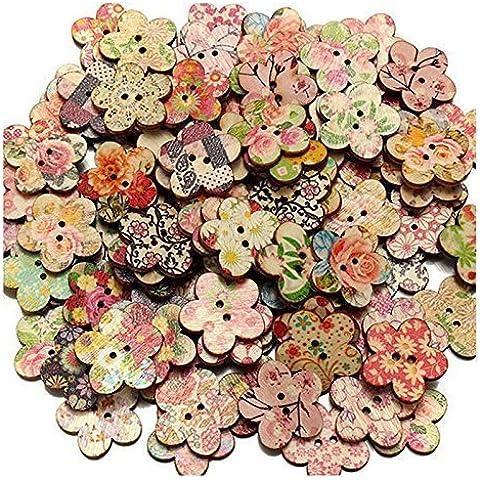 100 Mezcla de flores Patrón Forma 2 Holes los botones de madera Scrapbooking 25m m