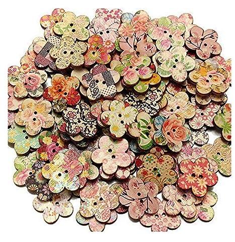 100 fleurs mixte Motif Forme 2 trous Bois coudre Boutons